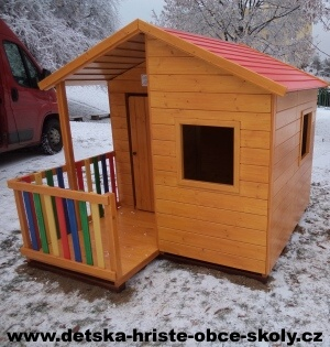 Dětský dřevěný domeček SMART cena NA KLÍČ (výroba, nátěr, montáž) bez dopravy Certifikát Čsn En 1176 | Ing. Olga Šašková, s.r.o.