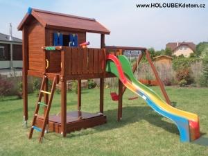 Zakázková sestava  Play House XL s laminátovou skluzavkou a SWING modul s houpačkami na přání a podle návrhu zákazníka