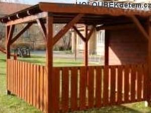 Ukázka dřevěné zahradní altány, pergoly, přístřešky